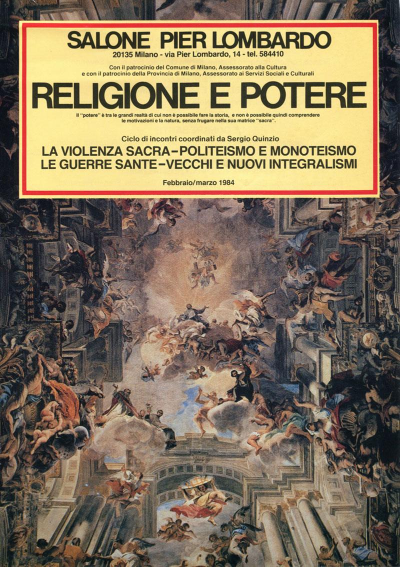 La locandina dell'incontro su Religione e Potere, 1983-84