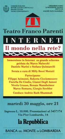 La locandina degli incontri su Internet, con Giorgio Strehler
