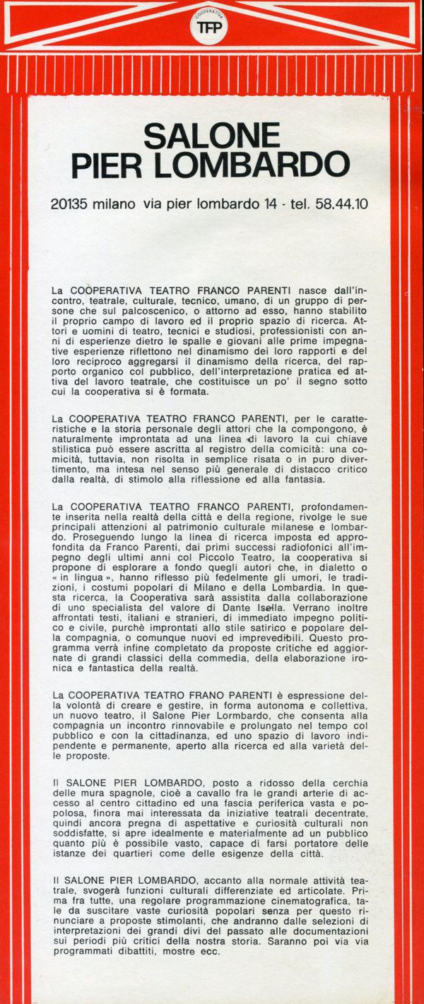 Il manifesto del Salone Pier Lombardo
