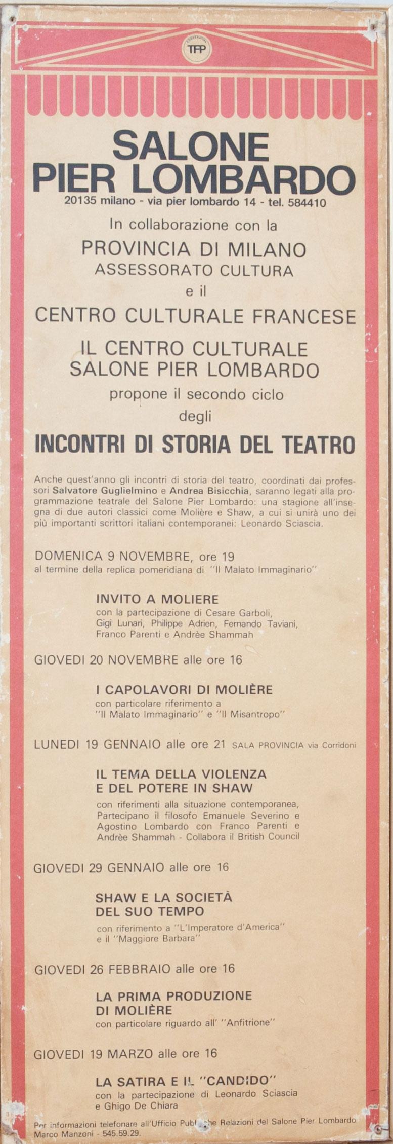 Locandina su una serie di incontri sulla storia del teatro