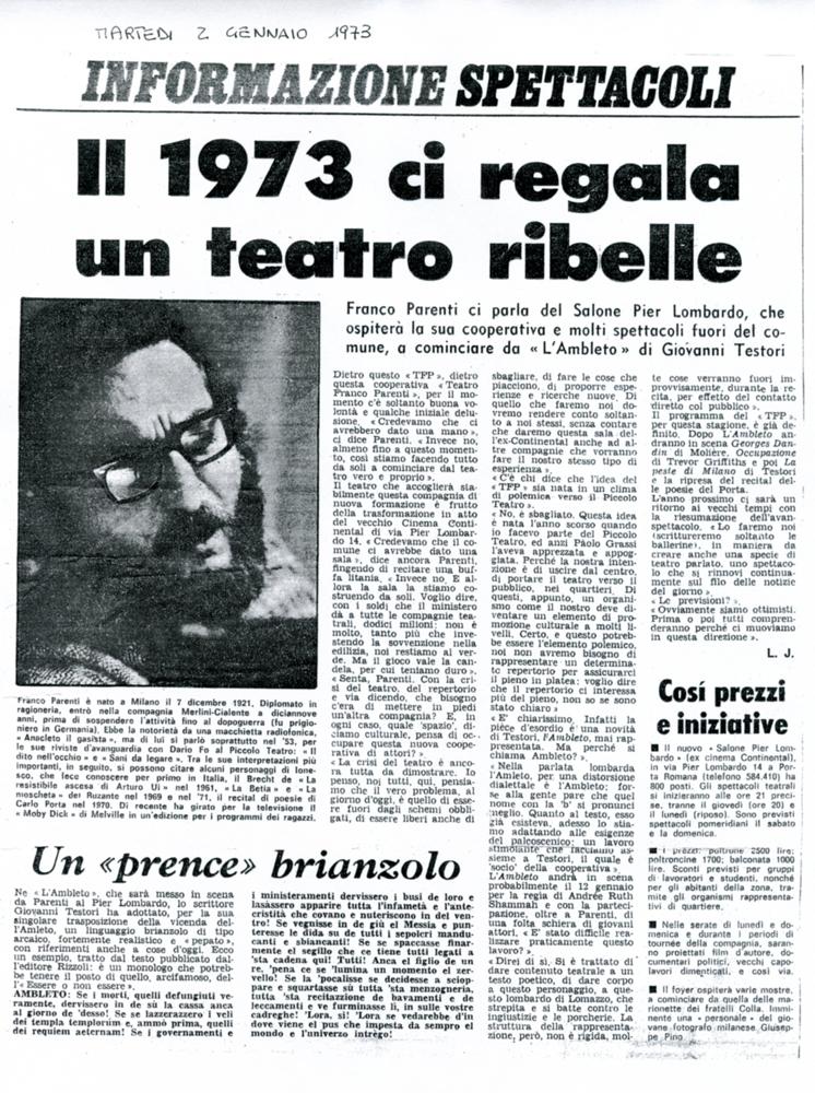 Informazione spettacoli, 2 gennaio 1973
