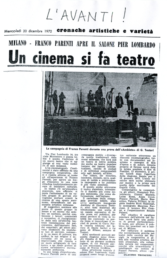 L'avanti, 20 dicembre 1972